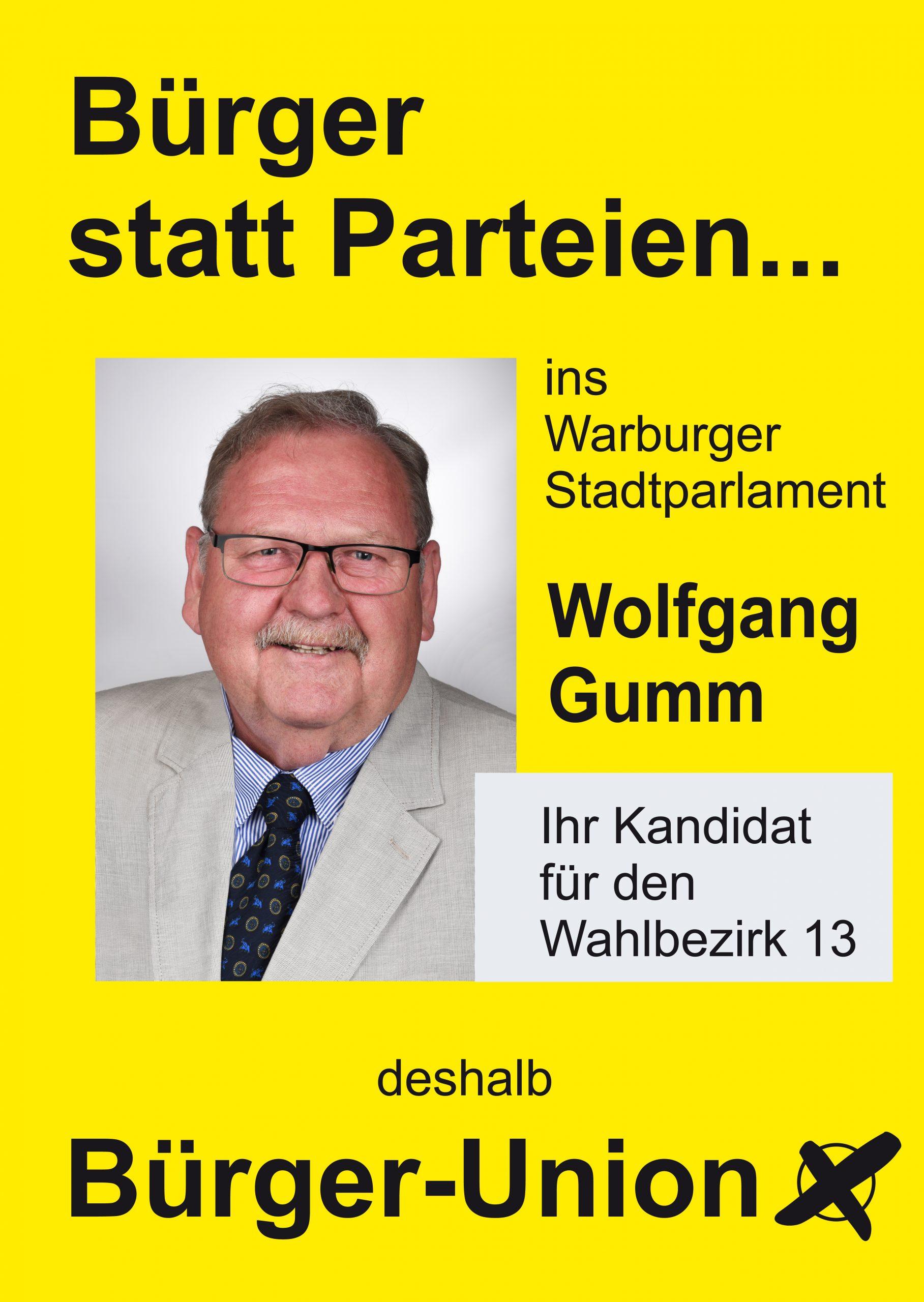 Wolfgang Gumm für Warburg Wahlbezirk 13