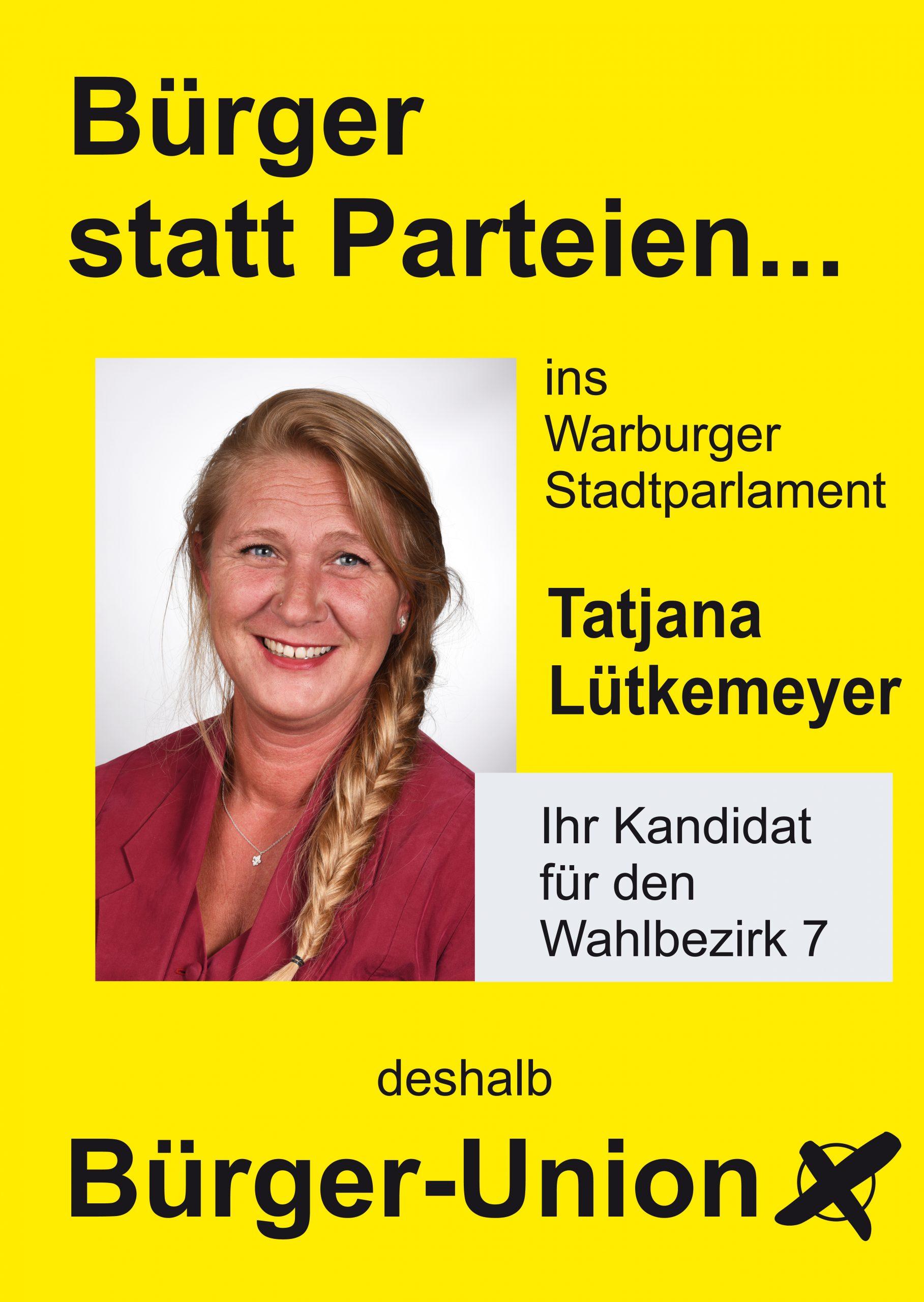 Bürgermeisterkandidat u .Wahlbezirk 7: Tatjana Lütkemeyer